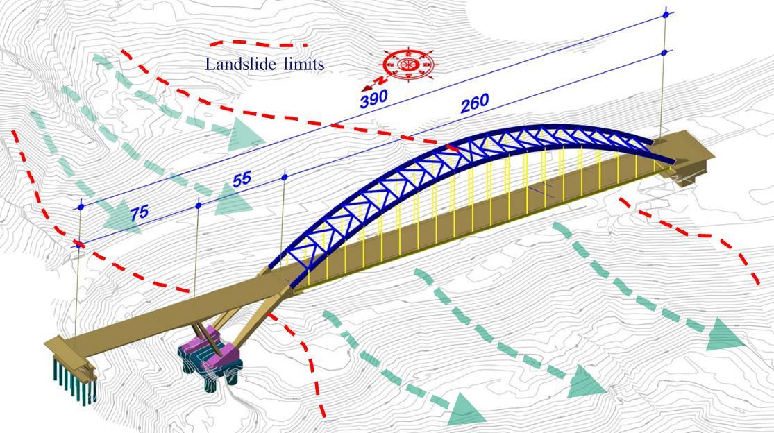 The Tsakona Bridge overpassing the active landslide